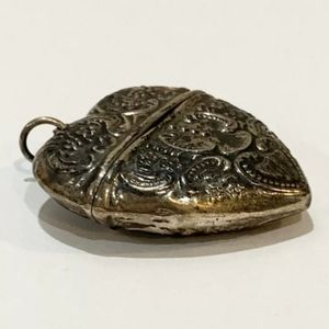 Victorian 1800s Sterling Heart Repousse Locket